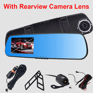 Dash Cam Car Dvr Camera Mirror W Video Recorder Auto Rearview