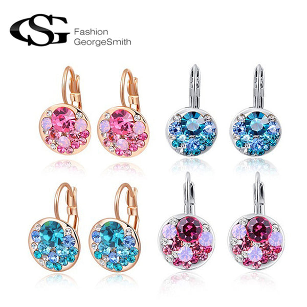 GS Brand Hot Sales AAA Zircon Earrings for Women brincos Pink Crystal Earrings Accessorie Wedding Fashion Jewelry G6