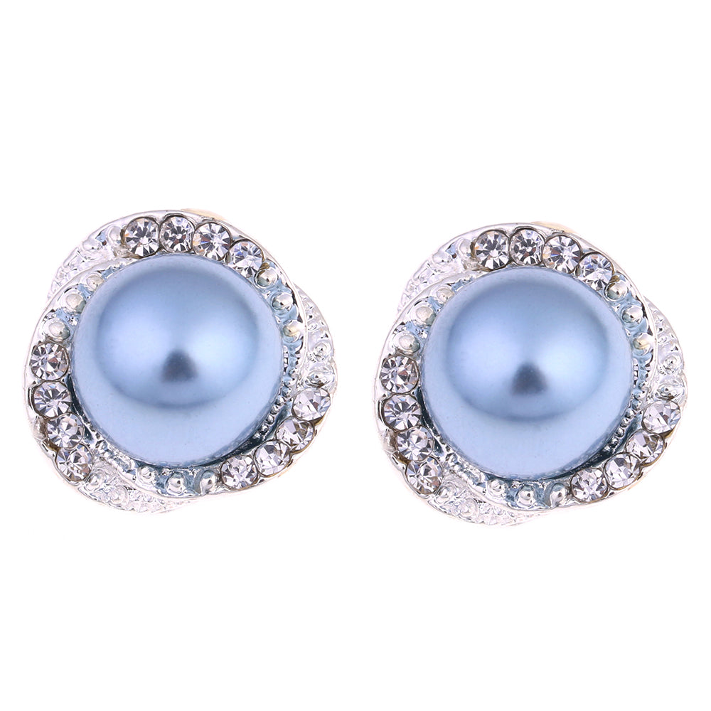 New Fashion Pearl Stud Earrings Hot Sale Classic Silver Plated Zircon Pearl Earring For Women Girls Brincos Jewelry EJSPACE
