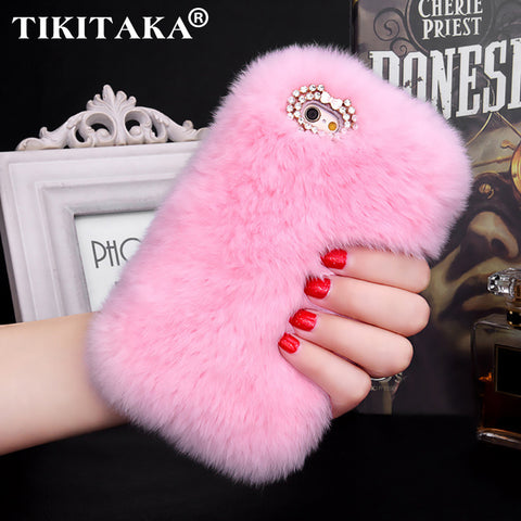Fashion Fluffy Warm Soft Wool Rabbit Fur Skin Case For iPhone 5 5S 6 6S 6 Plus 6S Plus Hair
