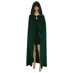 Candy Color Cloak Velvet Hooded Cape Medieval Renaissance Costume Xmas Vampire