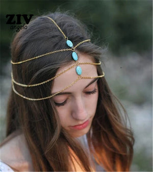 Multi Layer Metal  Head Chain Hair Jewelry Boho Headband