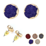 Top Fashion Cheap Fine Round Resin Druzy Looking Stud Earrings  for Women