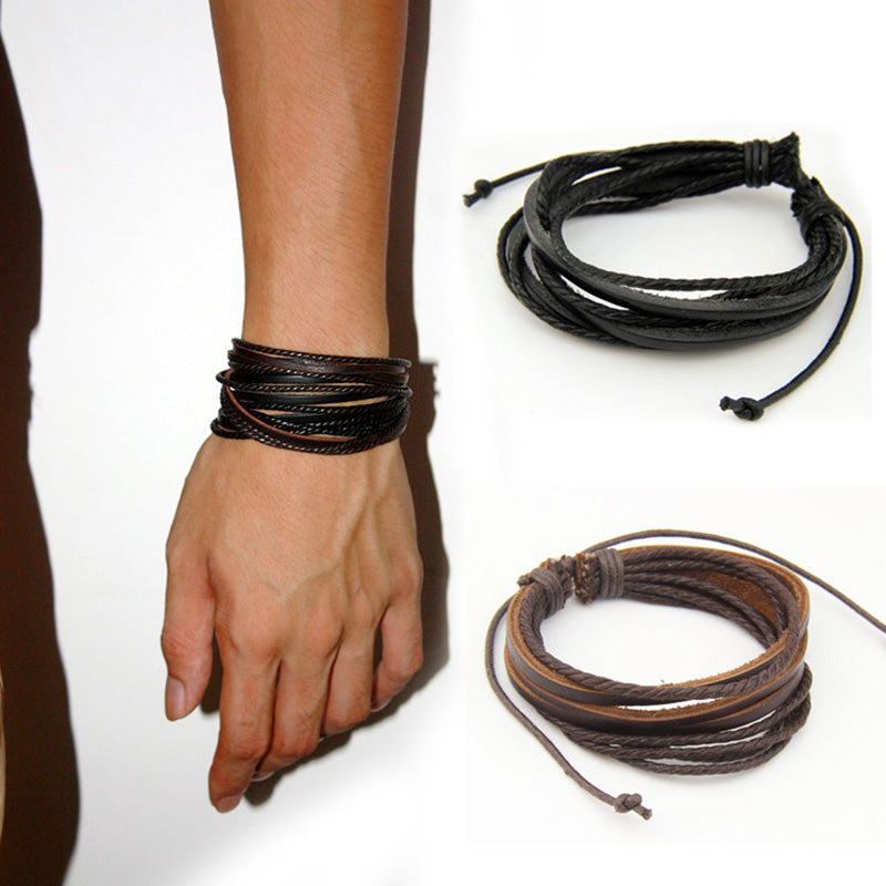 HOT Leather Bracelets & Bangles for Men and Women Black and Brown Braided Rope Fashion Man Jewelry 2pcs PI0246