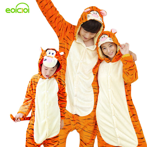 Family matching pajamas onesie women pajamas home clothing animal pajamas for adults tiger kids christmas