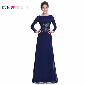 Full Length Navy Blue Sequins Elegant Round Neck Long Sleeve Evening Dress