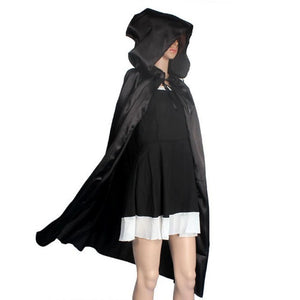 Hooded Cloak Coat,Black Red Wicca Robe Medieval Cape Shawl