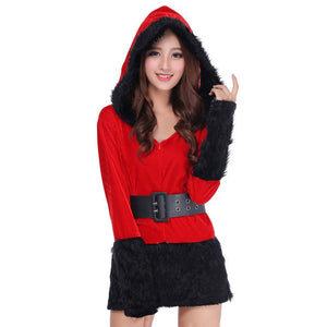 Women Christmas Dress Sexy Ladies white Black Santa Costume