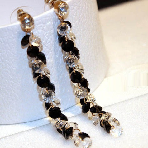 Classic White Black Crystal Long Earrings For Women 2017 Fashion Jewelry Wholesale Bijoux Fine Gifts