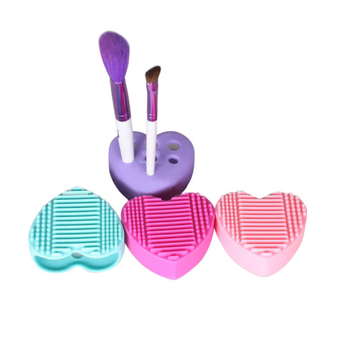 Heart Shape Silicone Egg Cleaning Brush pad Glove Makeup Washing Brush
