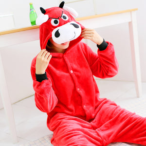 Cartoon Animal Red cow Plush Cosplay Unisex Adult Flannel Hooded Pajamas For Women Men Girls