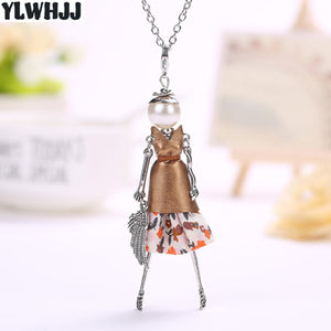 women doll cute black long necklaces & pendant hot dress baby girls maxi necklace