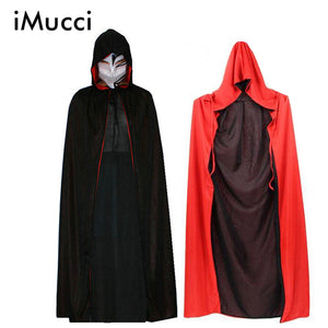 Kids Adults Death Cloak Cosplay Ghost Clothes Black Red Cape Hooded Cloaks