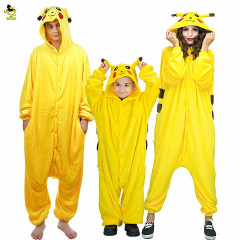 Cartoon Sleepwear Adults kids Pajamas Pikachu Flannel Animal Pajamas Sets