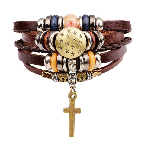 Cross Evil Eye Leaf Hand peace Believe Cuff Bangle Genuine Leather Bracelets