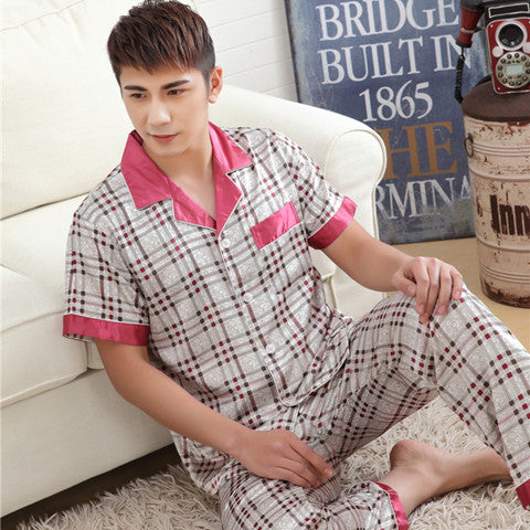 Men Satin Silk Pajamas Sets of Sleepshirt & Trousers Adult Nightwear Plus Size 3XL