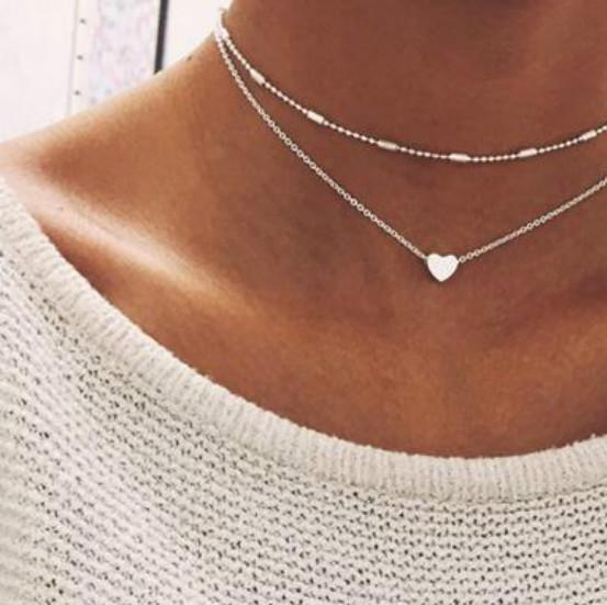 Simple Gold Color Love Heart Choker Necklace For Women Multi Layer Beads Chocker