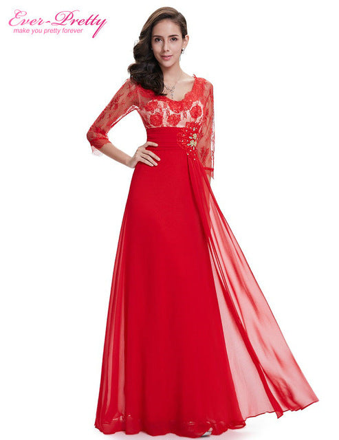 3/4 Sleeve Sexy Lace Rhinestone V-neck Red Dress