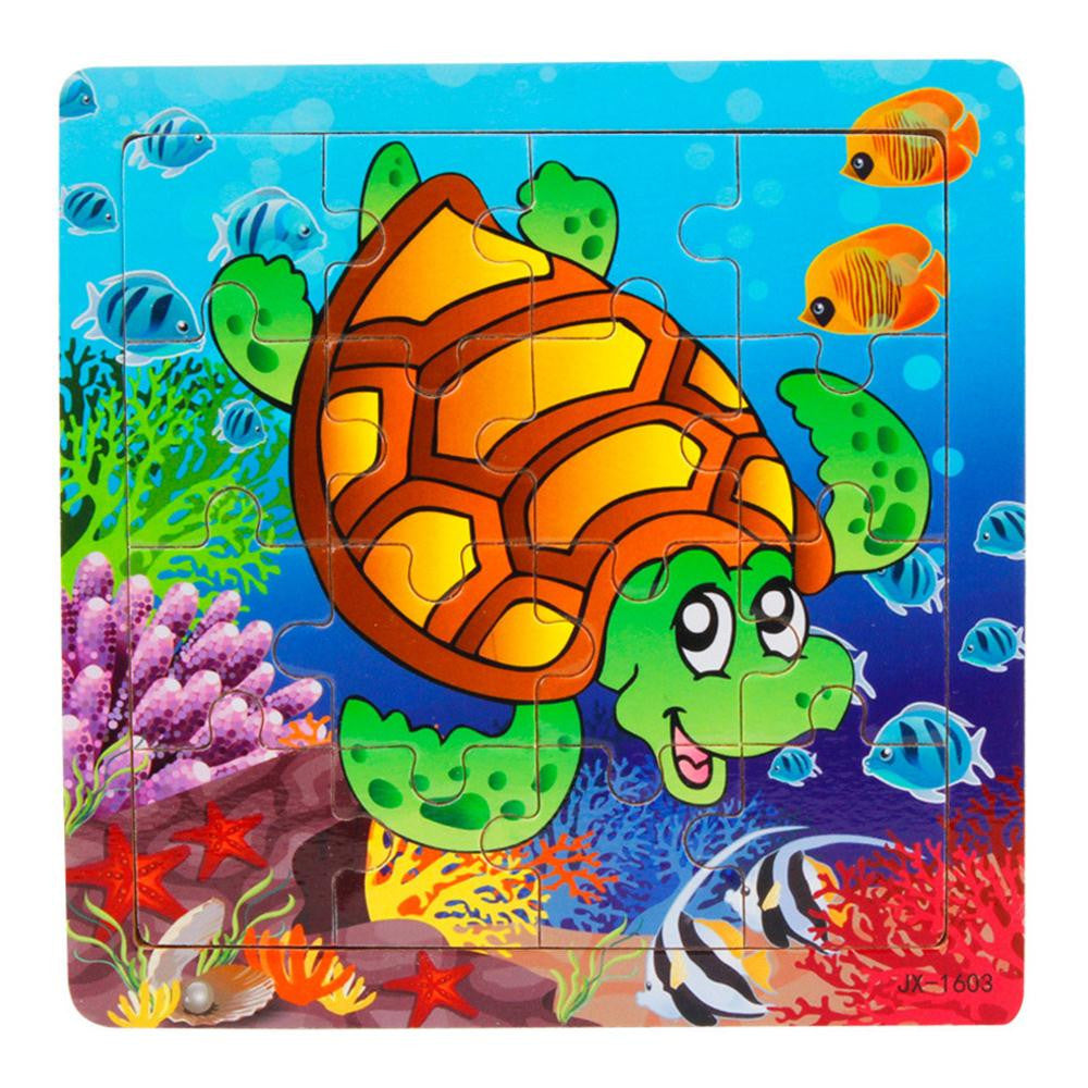 Turtle Animal Wooden Puzzle Kids toy 16 Piece Jigsaw puzzles for chidlren Educational Toys