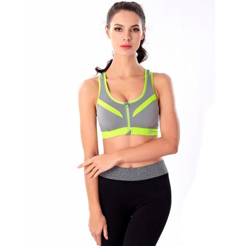 Professional Shockproof Zipper Sports Bra Women Padded Fitness Yoga Bra