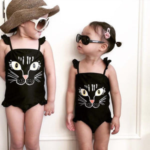 Summer Kids Baby Girls One Piece Print Cute Cat Bikini children's swimwear