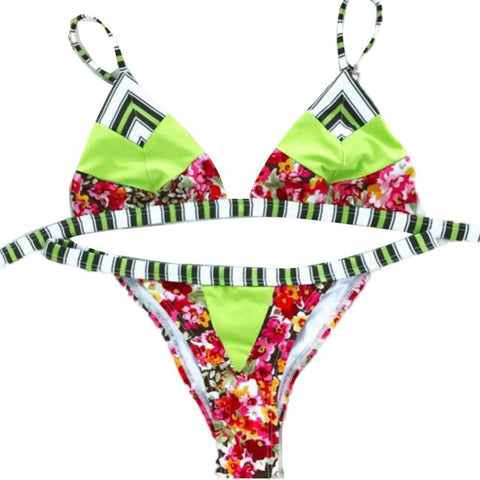 Low Waist Swimsuit Women Bikini Monokini Push Up Sexy Israel Print Beach Crop Tops