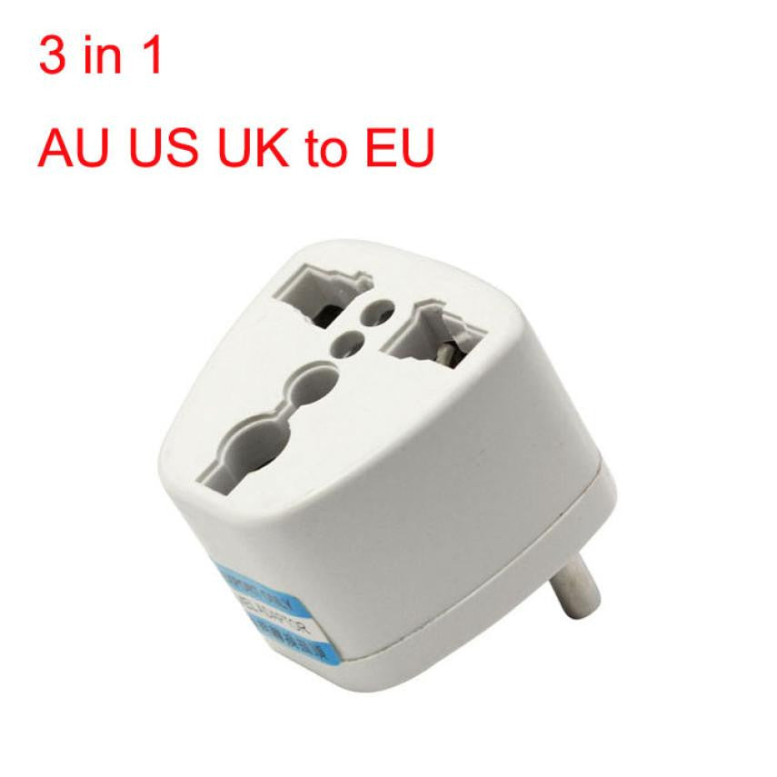 Universal 3 in 1 EU AC Power Plug Outlet Converter