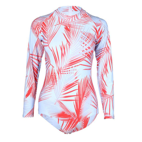 Women Set Sunscreen Surfing Suit Push-Up Padded long sleeve Waterproof Print Bra