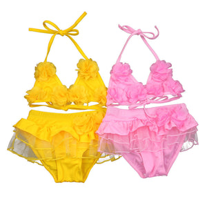 Children Swimwear Baby Kids Cute Bikini Girls split Two Pieces Swimsuit