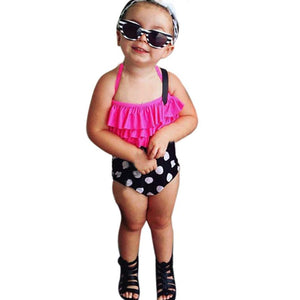 High waist swimsuit Kids swimwear for girls Bathing Tankini Bikini Set Swimwear