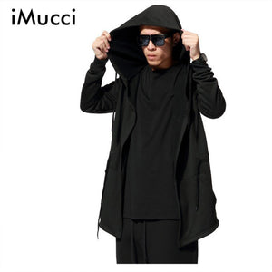Black Cloak Hooded Hoodies Men Fashion Streetwear Hip Hop Long Hoodies Clothing
