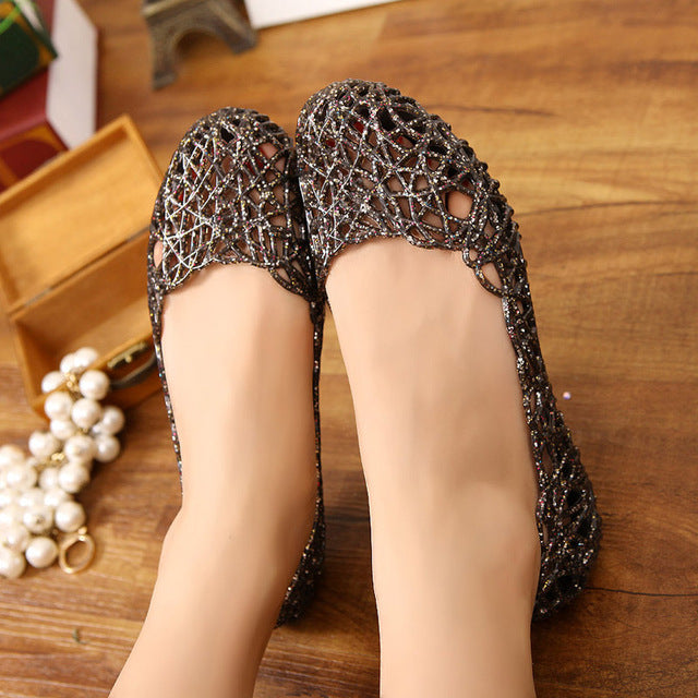 Hollow Out Mesh Flat Sandals