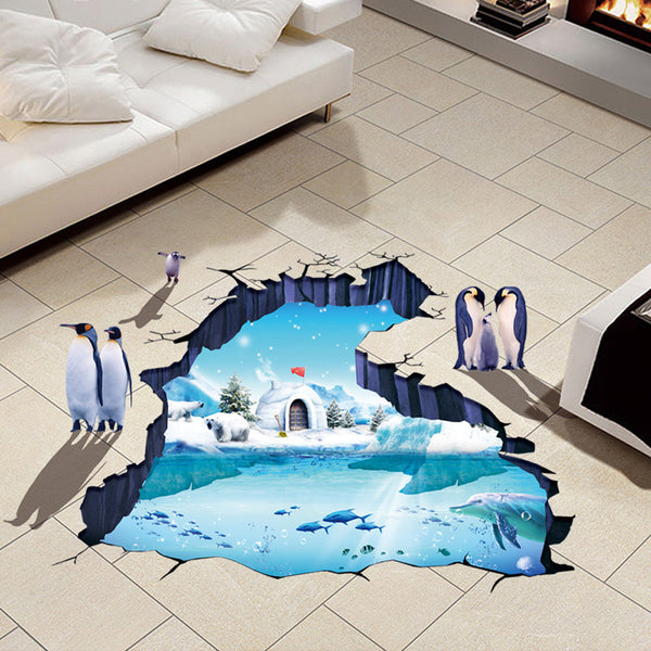 3D Polar World Floor Wall Sticker Removable Mural Decals Vinyl Living Room Decor
