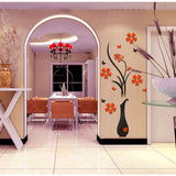 3D Vase Flower Removable Wall Vinyl Decal Art Home Decor Wall Sticker