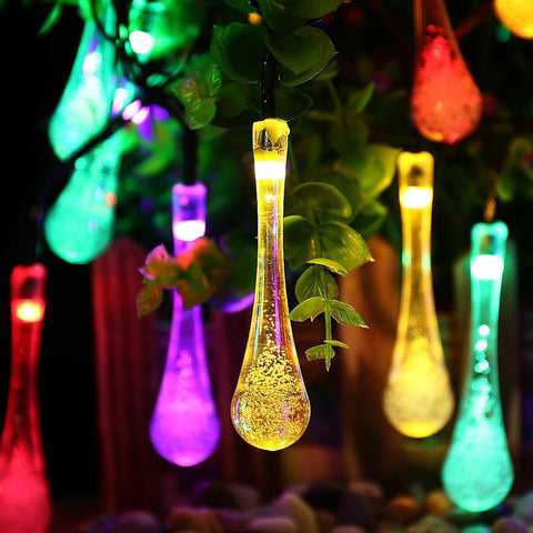 LED Solar Christmas Lights Waterproof Water Drop Romantic Solar Fairy String Lights