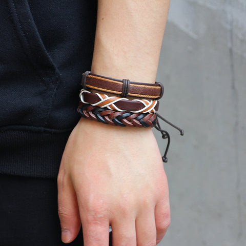 Women Vintage Punk Leather Bracelets