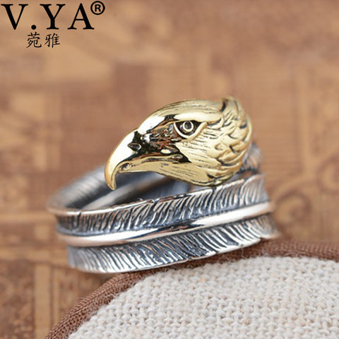 Real 925 Sterling Silver Eagle Head Rings For Men