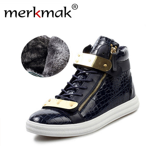 Stylish Men's Flats Lace-Up Warm Fur Boots Leather Waterproof Mens Boots