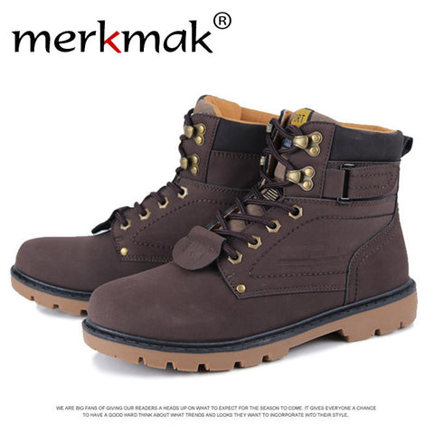 Unisex Martin Fur Boots  Winter Warm Leather Boot Outdoor Waterproof Boots