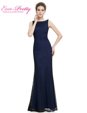 Lace Women's Elegant  Round Neck Long Black Prom Dress