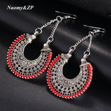 Naomy&ZP Long Flower Ethnic Dangle Bohemian Earrings Women Vintage Boho Large Tassel Big Drop Earrings For Women Fashion Jewelry