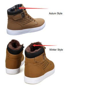 Ankle  Fur Warm Winter Boots For Man British Style Casual High Top Shoes