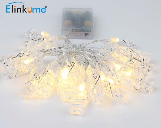 Elinkume LED Holiday Lighting 20LED Photo Wall String 2.2M Clip Birthday Valentine Party Light Warm White Deco Creative Home