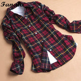 Womne Blusas Long-sleeved Women's Plaid Flannel