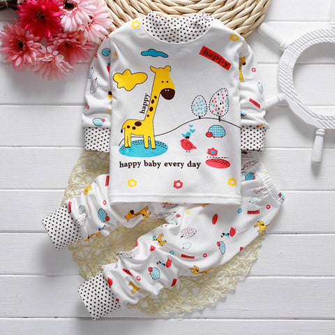 Toddler Baby Boys Girls Pyjamas Captain Giraffe Rabbit Print Pajamas Set Nightwear Long Sleeve