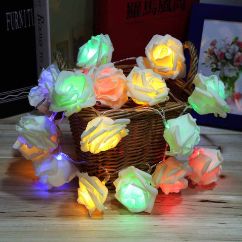 Holiday Lighting 20 LED Rose Flower String Lights Fairy Wedding Party Christmas