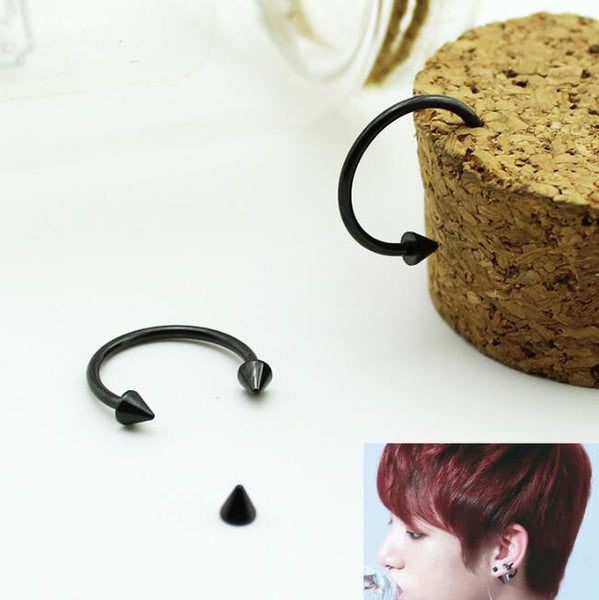 1Pair Cool KPOP BTS Bangtan Boys Album Stud Earrings Korean Fashion Jewelry Accessories For Men And Women Black Earring