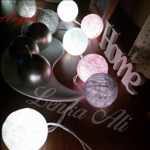 White-Pink-Gray Cotton ball string Lights
