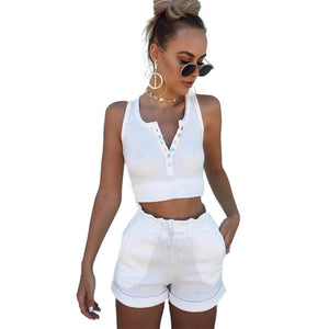 Women Set Two Piece Set Top And Pants Colorful Button crop top