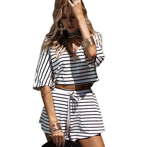 Bandage Striped Two Piece Set Women Top and Pant ensemble femme sold by set